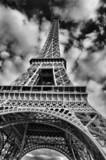 Czarno-biały obraz wieży Eiffla - 18093478