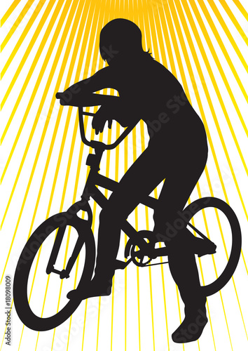 Printed kitchen splashbacks Younger girl on bicycle