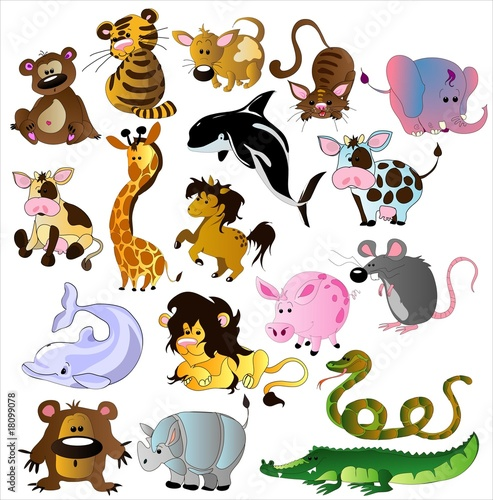 Ingelijste posters Zoo Cartoon animals vector