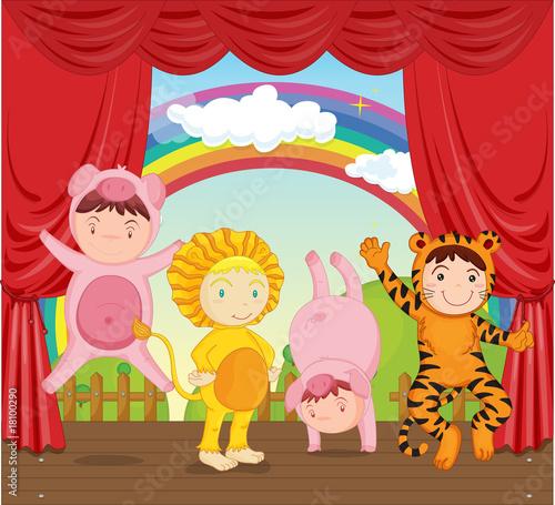 In de dag Regenboog kids