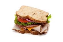 Turkey Sandwich On White Backg...