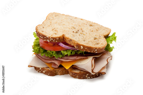 Spoed Foto op Canvas Snack Turkey sandwich on white background