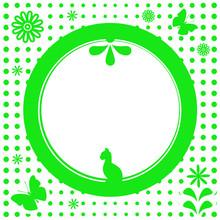 Green Natural Flower Round Frame