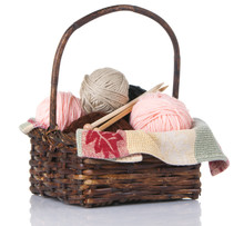 Knitting Basket With Yarn And ...