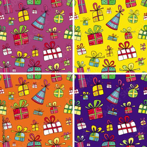 Poster de jardin Route Seamless christmas presents pattern set.