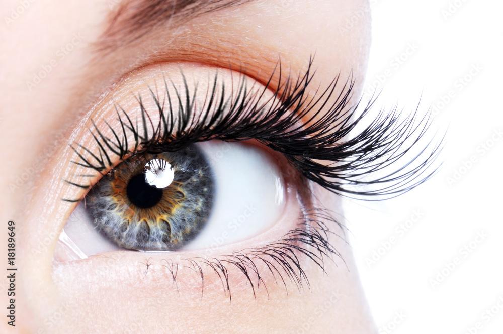 Fototapeta Beauty female eye with curl long false eyelashes