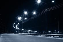 Night Urban Street With Lights From Lanterns
