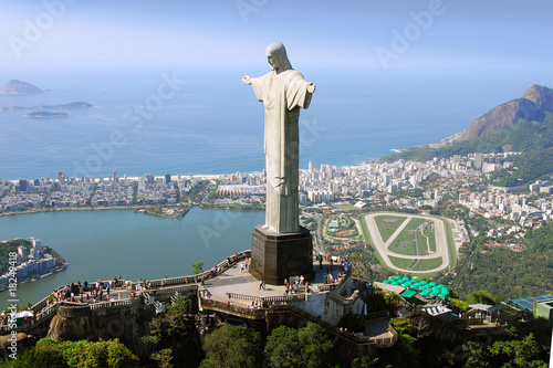 Aluminium Prints Brazil Aerial view of Christ the Redeemer Monument and Rio De Janeiro
