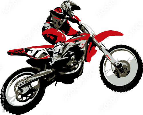 Poster Motocyclette rider jumping
