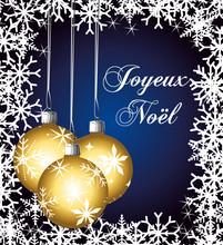 Joyeux Noël. Carte Bleu Marin...