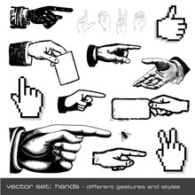 Vector Set: Hands - Different Gestures And Styles (12 Items)