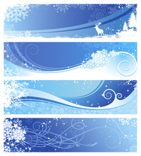 Set Of 4 Blue Winter Banners W...