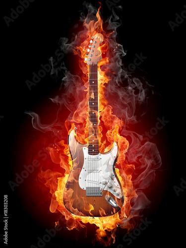 Recess Fitting Flame Burning guitar