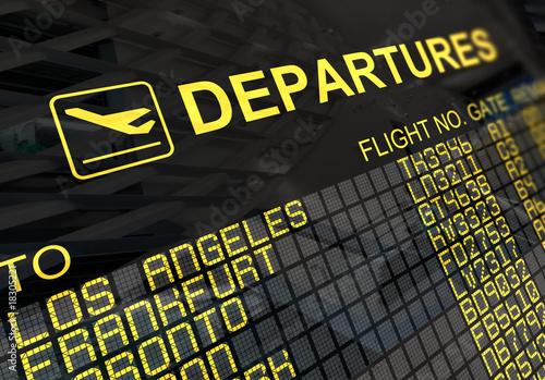 Foto International Airport Departures Board