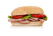 A Ham Sub Sandwich On White