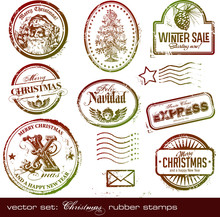Vector Set: Grungy Christmas Rubber Stamps