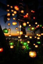 Bunte Lichter Am Strand