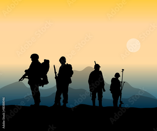 Tuinposter Militair army soldiers at the front in war action