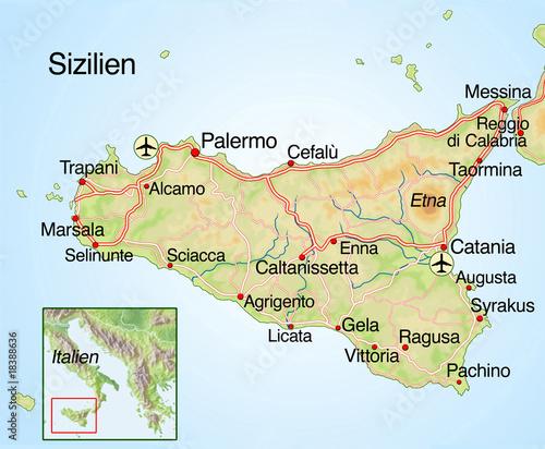 Cuadros en Lienzo Landkarte von Sizilien mit Text