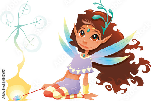 Poster Chambre d enfant Fairy girl with magic wand. Cartoon and vector character.
