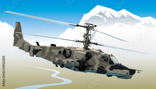 Deurstickers Militair Attack helicopter