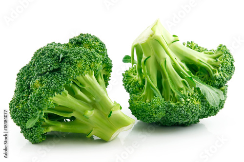 Photo  Ripe Broccoli Cabbage Isolated on White