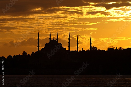 Printed kitchen splashbacks Cappuccino Blue Mosque in evening