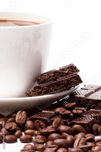 Photo Stands Coffee beans coffee and black chocolate