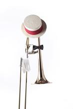 Trombone Hat Gloves Isolated On White