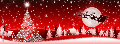 Foto op Plexiglas Rood paars Red Christmas banner with Santa Claus