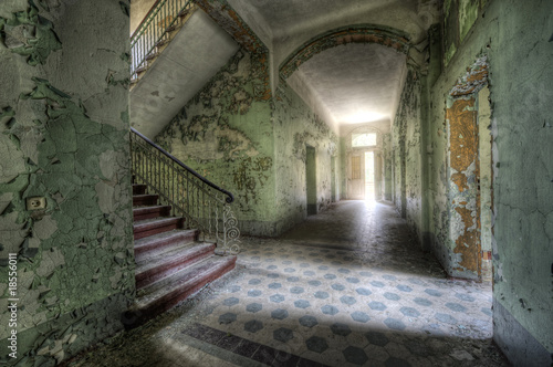 Garden Poster Old Hospital Beelitz light behind the door