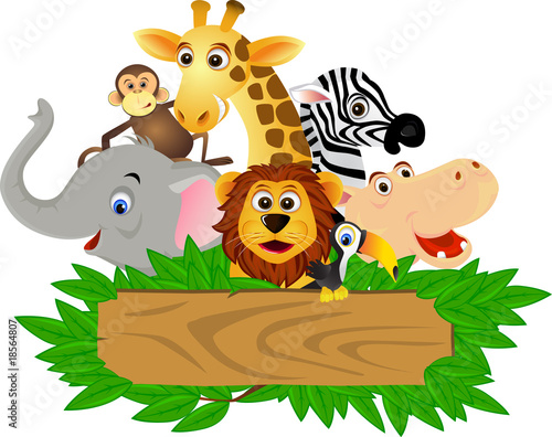 Stickers pour porte Forets enfants Animal cartoon
