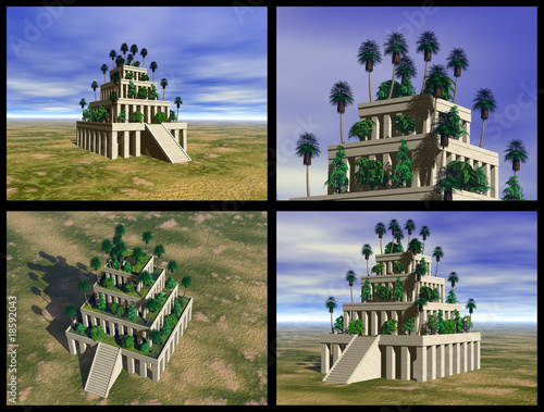 Photo Hanging Gardens of Babylon. 3D reconstructions.