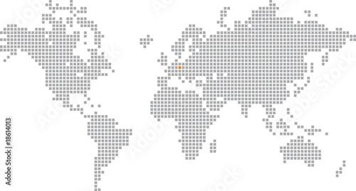 Türaufkleber Weltkarte Pixelglobus Vektor