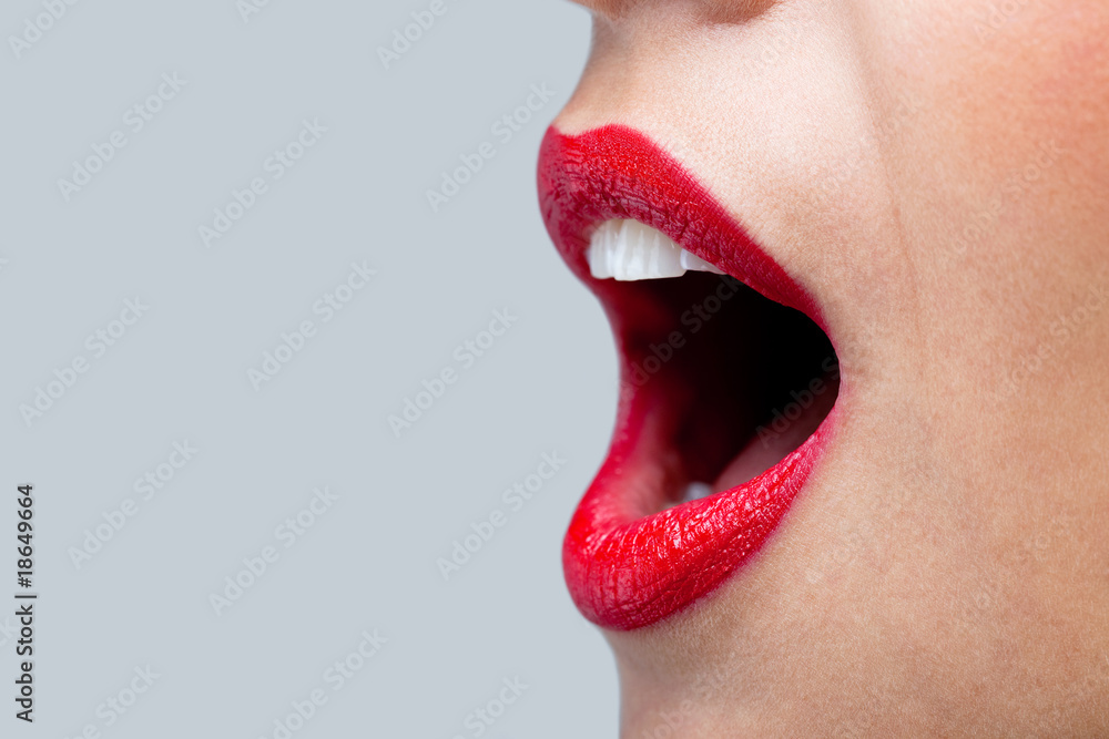 Fototapety, obrazy: Womans mouth wide open with red lipstick.
