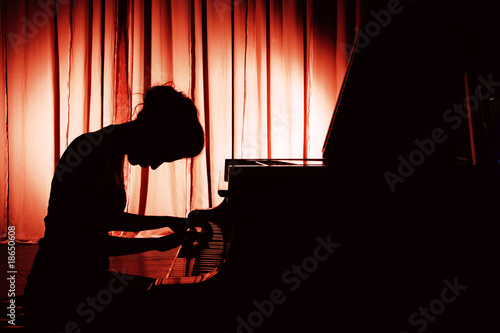 Fotografie, Obraz  woman playing piano