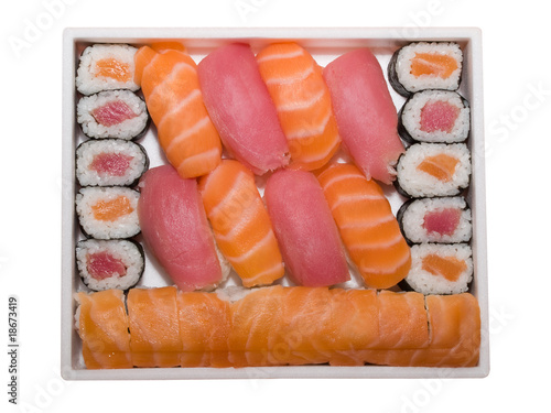 Set Of Japan Traditional Food Rolls And Sushi Isolated On