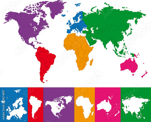 Photo Color map of the World with continent borders