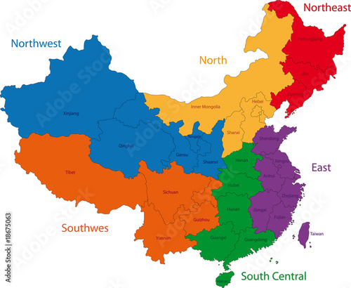 Color map of the regions and divisions of China – kaufen Sie diese ...