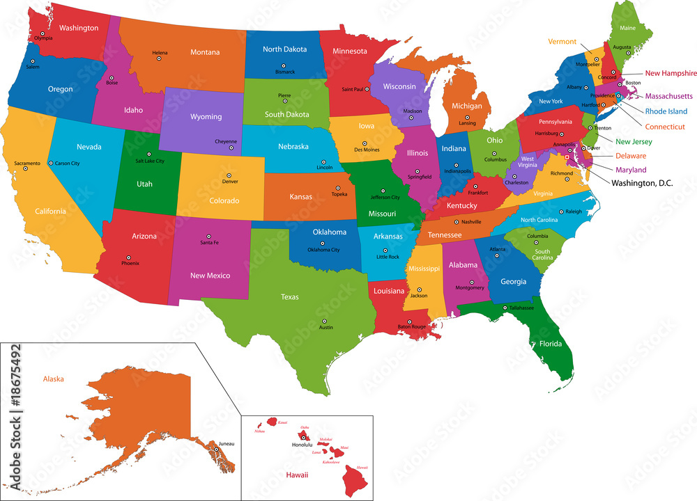 Fototapety, obrazy: Colorful USA map with states and capital cities