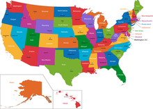 Colorful USA Map With States A...