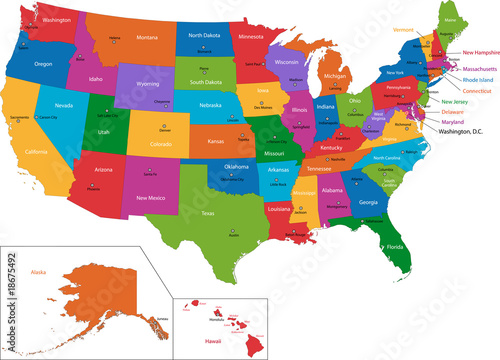 Colorful USA map with states and capital cities Wallpaper Mural