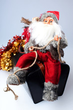 Santa On A Bag With Gifts Isol...