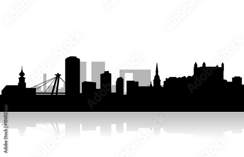 bratislava vector skyline Canvas Print