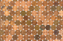 Several Rows Of Older And Newer One Cent Coins