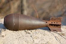 Old Rusted World War II Mortar...