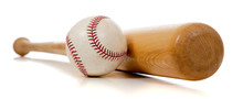 Baseball And Wooden Bat On White