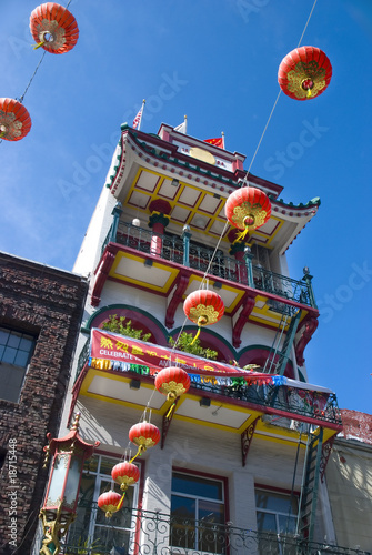 Colorful building in Chinatown, San Francisco, California