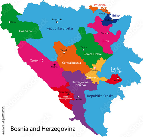 Canvas Print Map of administrative divisions of Bosnia and Herzegovina