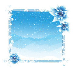 FototapetaWinter frame with ice flowers
